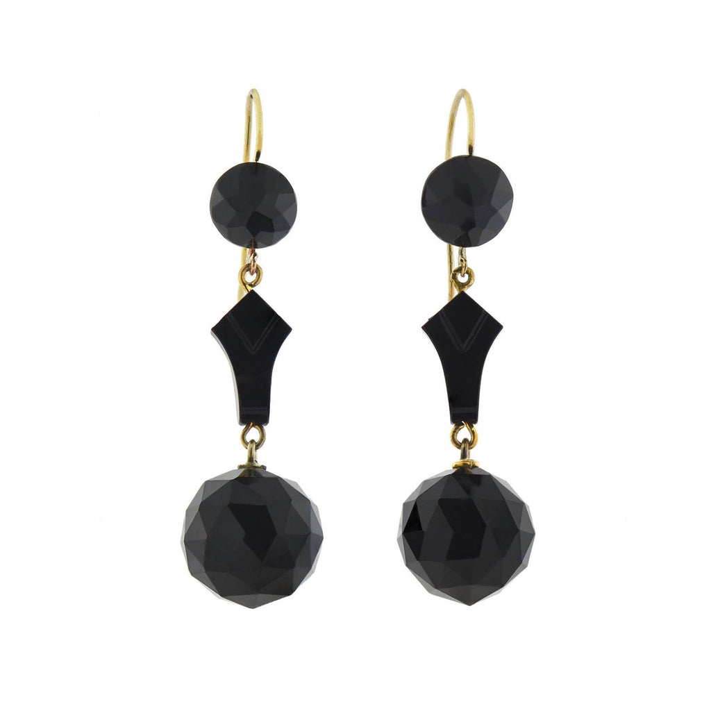 Victorian 14kt Faceted Onyx Sphere Dangle Earrings