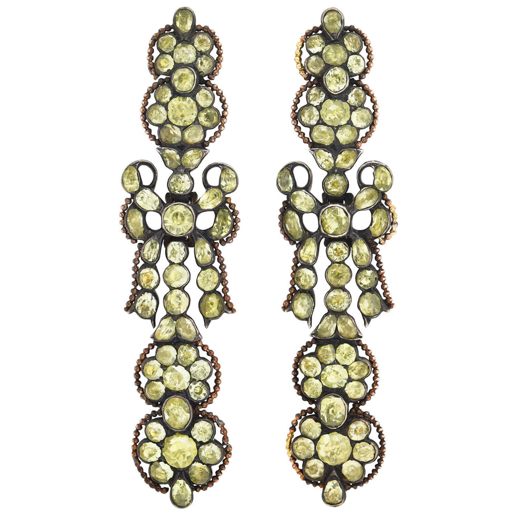 Georgian Large Sterling Silver Chrysoberyl Earrings