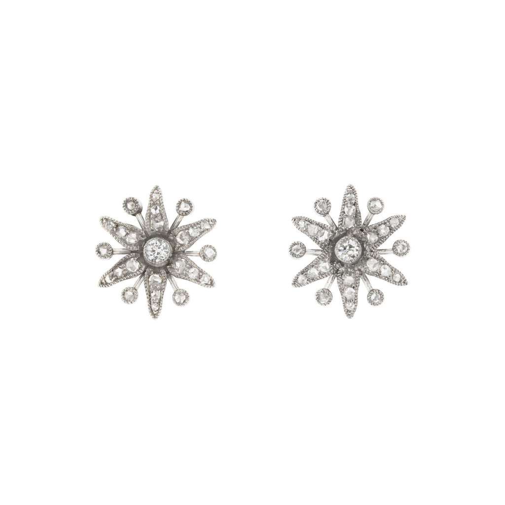 Edwardian Platinum Diamond 6-Point Star Stud Earrings 0.50ctw