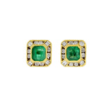 Retro 18kt Emerald + Diamond Stud Earrings