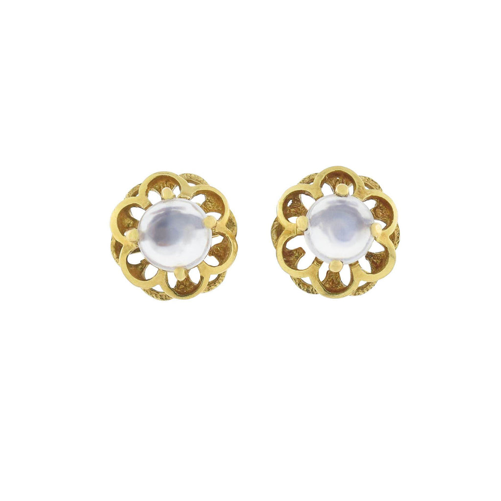 Vintage 18kt Yellow Gold Moonstone Floral Stud Earrings