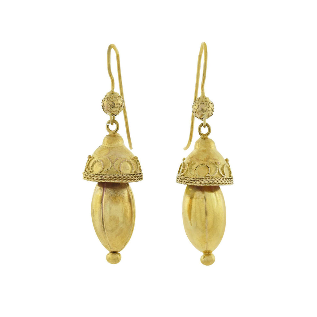 Victorian 14kt Yellow Gold Etruscan Acorn Earrings