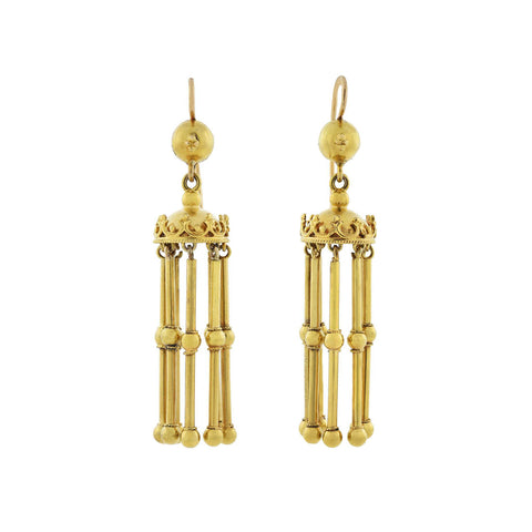 Victorian 14kt Gold Dangling Etruscan Crown + Tassel Earrings