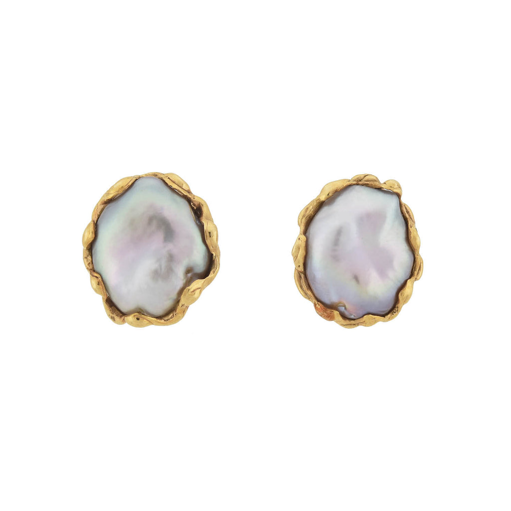 Vintage 14kt Gold Natural Keshi Pearl Stud Earrings