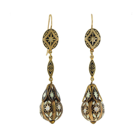 Victorian Gold Filled Black + White Enameled Earrings