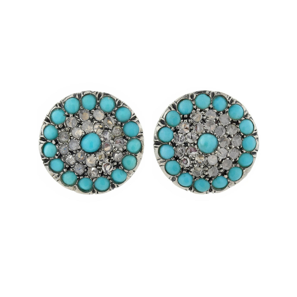 Victorian Style 9kt/Sterling Turquoise + Rose Cut Diamond Stud Earrings