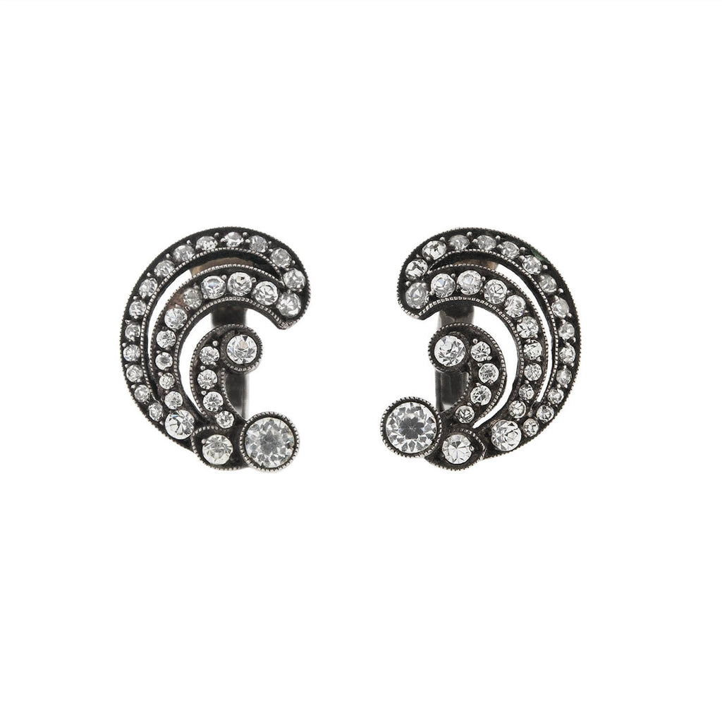 Art Deco .835 Silver French Paste Left / Right Clip-On Earrings