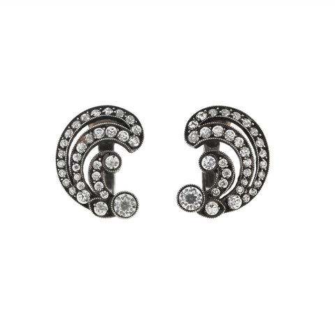 Retro .835 Silver French Paste Left / Right Clip-On Earrings