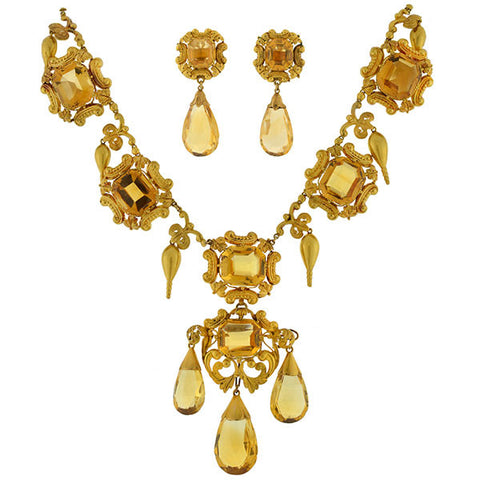 Early Victorian 15kt Citrine Necklace Earrings Set