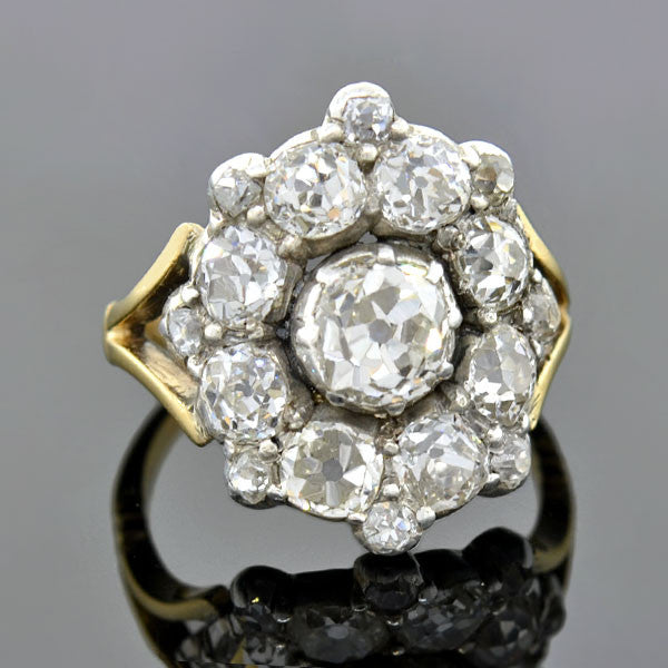 Early Victorian Silver-Topped 15kt Diamond Cluster Ring 2.75ctw
