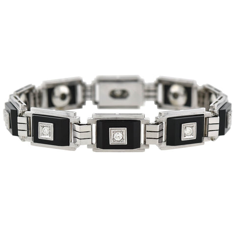 Late Art Deco 18kt Diamond + Onyx Link Bracelet 1ctw