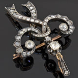 Early Victorian Russian Sterling/14kt Diamond Bow Pin + Pendant 1.65ctw