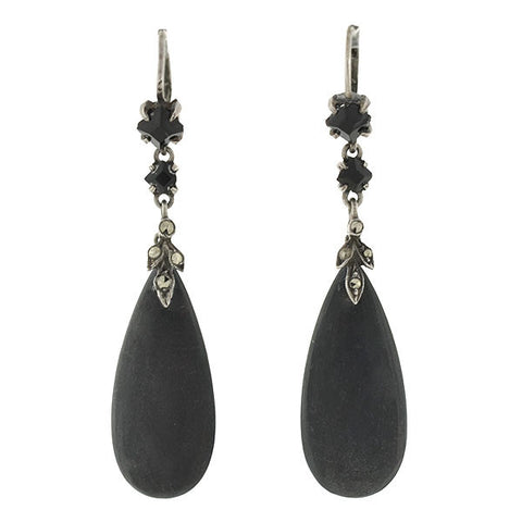 Art Deco Sterling Ebony & Marcasite Teardrop Earrings