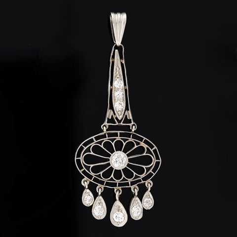 Edwardian Platinum & Diamond Filigree Pendant 0.40ctw