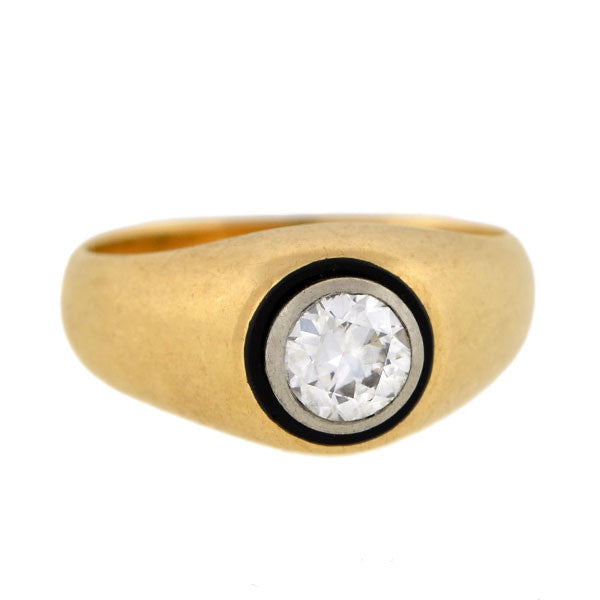 Edwardian 14kt & Platinum Enameled Diamond Ring 0.70ct