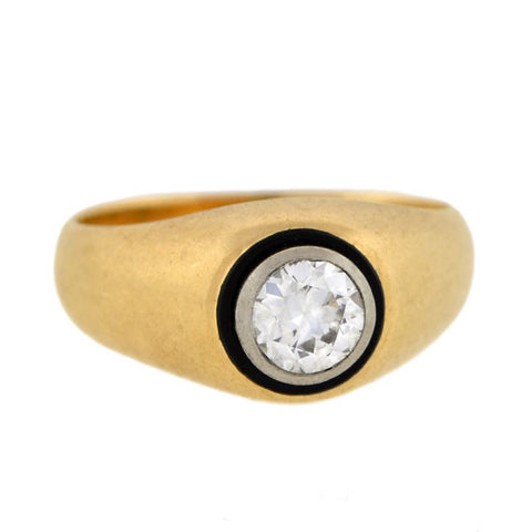BIRKS Edwardian 14kt & Platinum Enameled Diamond Ring 0.70ct