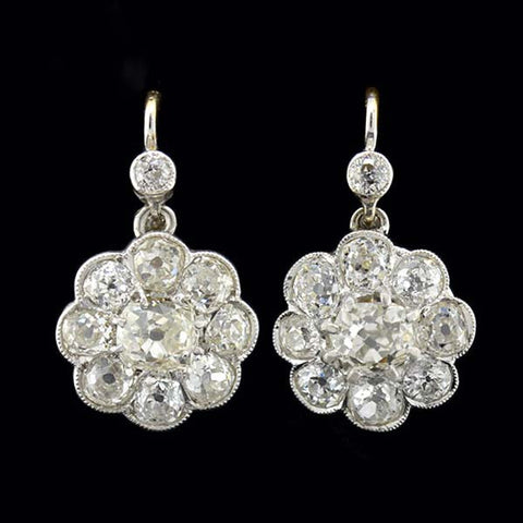 Edwardian 18kt Diamond Cluster Earrings 3.00ctw