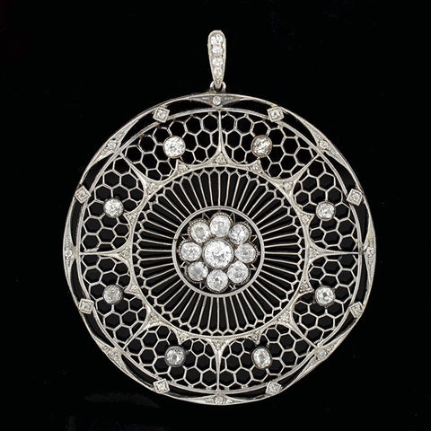 Edwardian Large Platinum & Diamond Filigree Pendant 2ctw