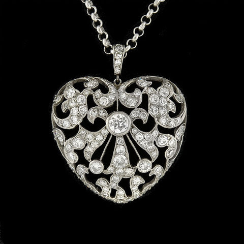 Edwardian Platinum/14kt Diamond Filigree Heart Necklace 1.60ctw