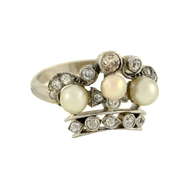 Edwardian 18kt Diamond & Pearl Crown Ring .25ctw