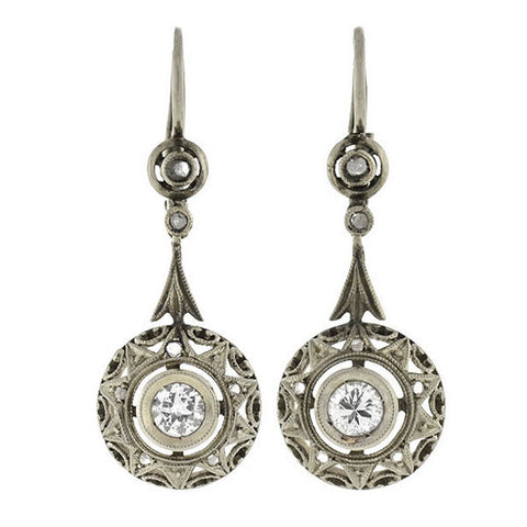 Edwardian 18kt Diamond Filigree Earrings