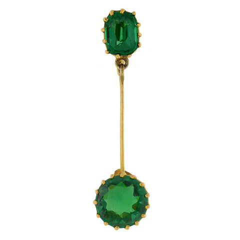 Edwardian 15kt/9kt Green Doublet Drop Earrings