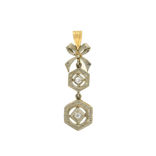 Edwardian 14kt Mixed Metals Diamond & Bow Pendant