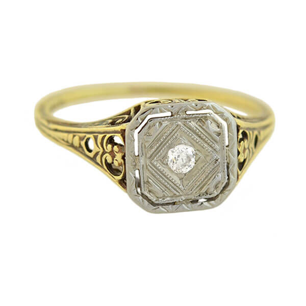 Edwardian 14kt Mixed Metals Diamond Filigree Ring 0.10ct
