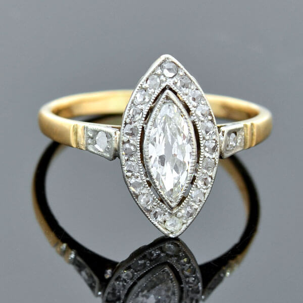 Edwardian 18kt Platinum Marquise Diamond Ring 0.65ct