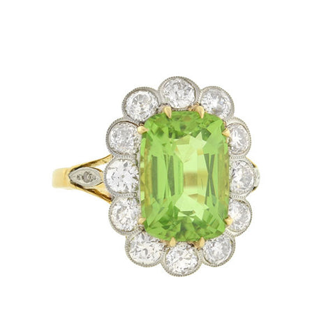 Edwardian 18kt Peridot & Diamond Ring