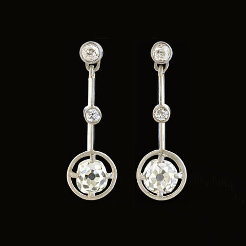Edwardian Platinum 3-Stone Diamond Drop Earrings 1.00ctw