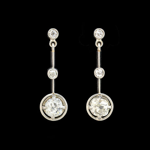 Edwardian Platinum Cushion Cut Diamond Earrings 0.80ctw