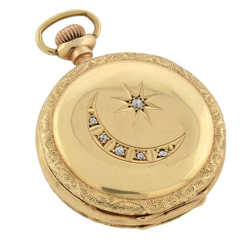 Edwardian 14kt Diamond Celestial Savonnette Pocket Watch Encasement Locket
