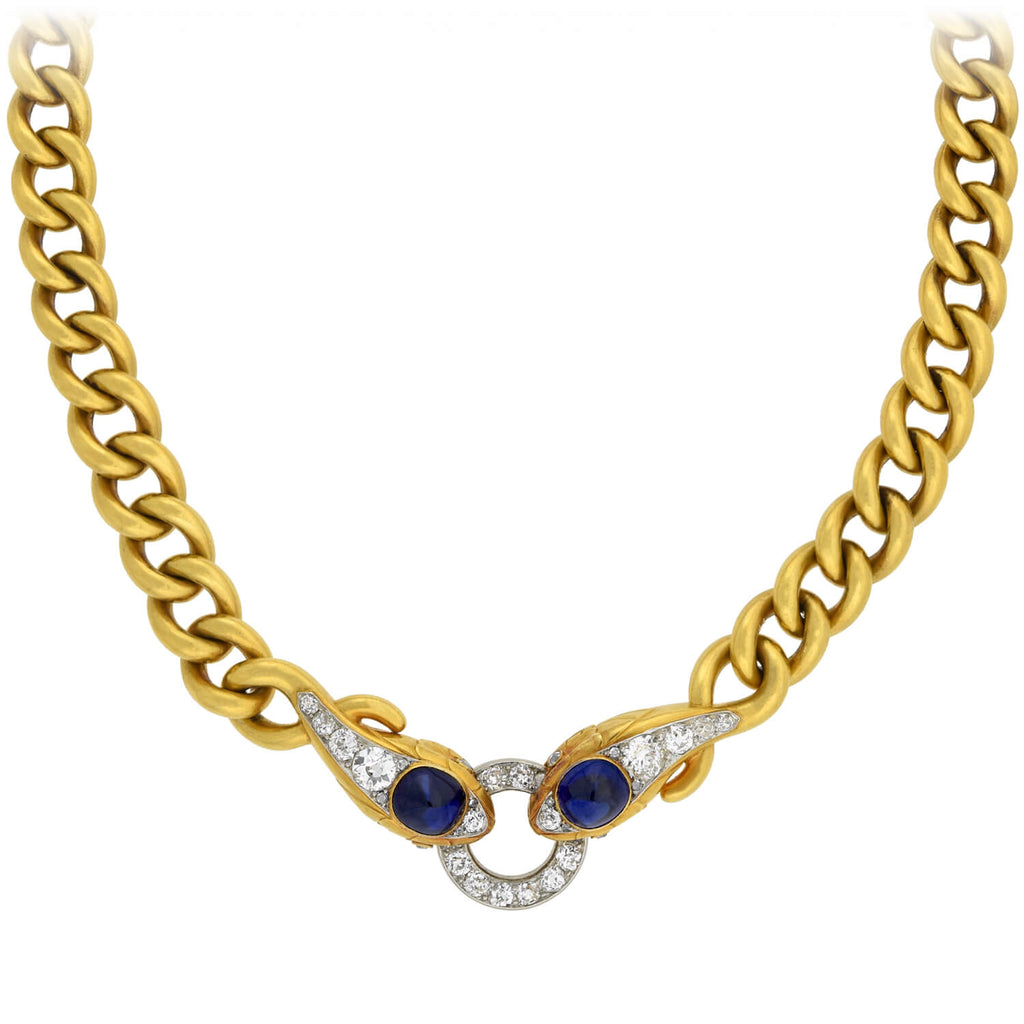 Edwardian 18kt/Platinum 3ctw Sapphire + Diamond Double Snake Head Chain Necklace