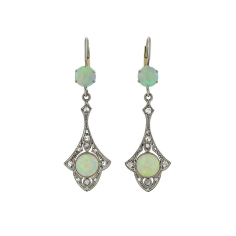 Art Deco 14kt Opal + Rose Cut Diamond Dangle Earrings