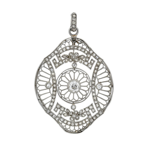 Edwardian French Large Platinum Diamond Floral Motif Filigree Pendant 1.05ctw