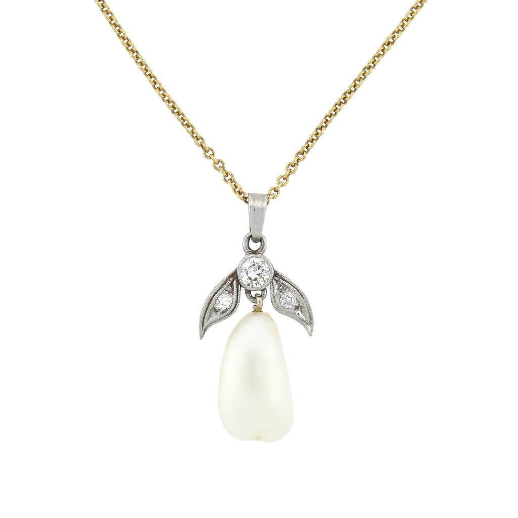 Edwardian 14kt/Platinum Diamond + Natural Pearl Pendant Necklace