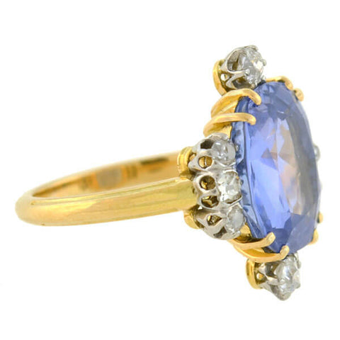 Edwardian 18kt/Platinum Natural Ceylon Sapphire Diamond Ring 6.80ct