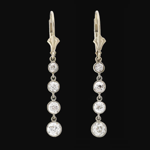 Edwardian Platinum/14kt Diamond Drop Earrings 2.35ctw