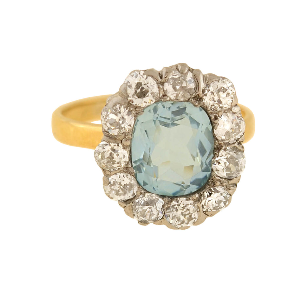 Edwardian 18kt/Platinum Aquamarine + Diamond Halo Ring 2.00ct center