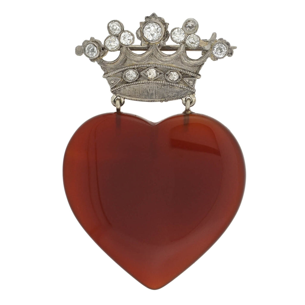 Edwardian Platinum Diamond + Carved Carnelian Heart + Crown Pin/Pendant