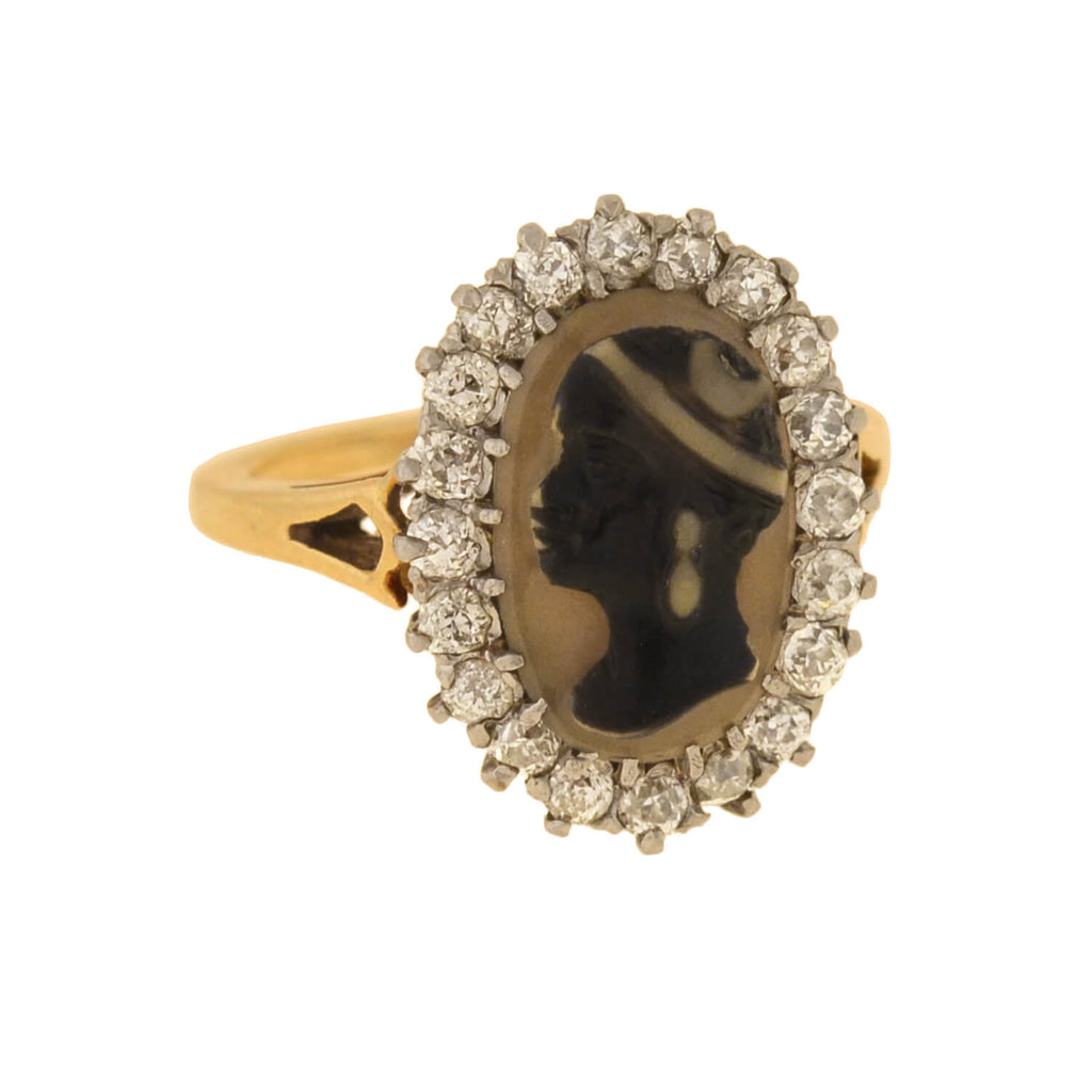 Edwardian 14kt/Platinum Banded Agate Cameo + Diamond Ring