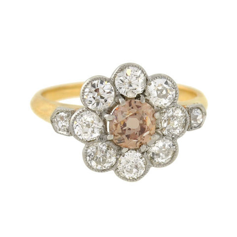 Edwardian 18kt/Platinum Champagne Diamond Cluster Ring 1.60ctw