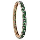 Edwardian Platinum/14kt Emerald & Diamond Bangle Bracelet
