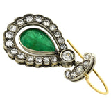 Edwardian Sterling & 14kt Emerald Diamond Teardrop Earrings