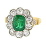 Edwardian Platinum 18kt Emerald & Diamond Ring 1.75ct