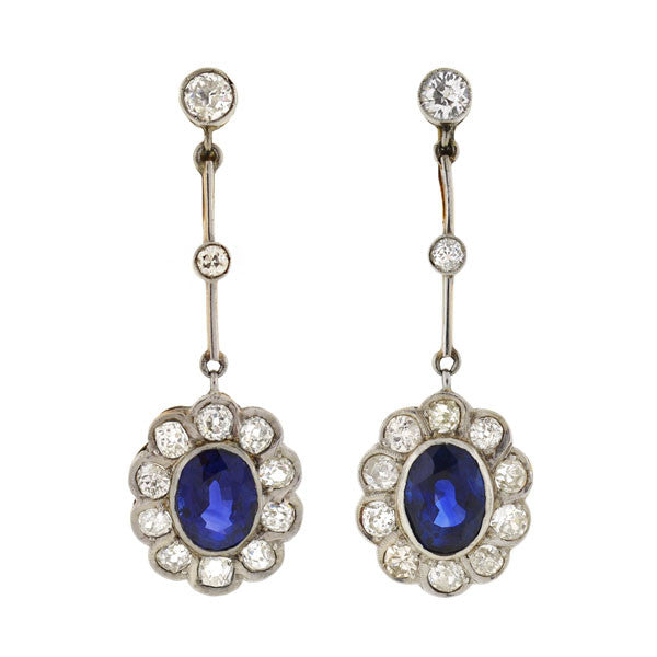 Edwardian Mixed Metals Diamond & Sapphire Earrings