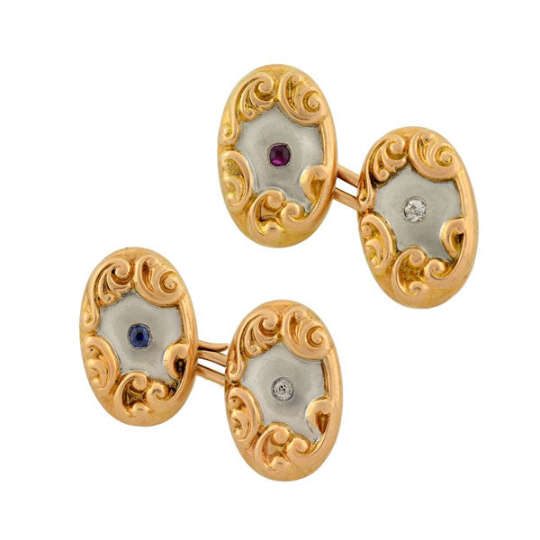 Edwardian Mixed Metals Diamond, Ruby & Sapphire Cufflinks