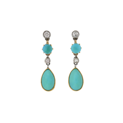 Edwardian 14kt/Platinum Diamond + Turquoise Teardrop Earrings