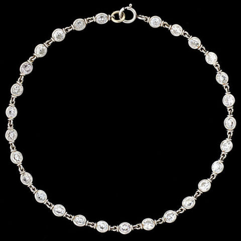 "Edwardian Platinum ""Diamonds by the Yard"" Necklace/Bracelet Set 10ctw+"